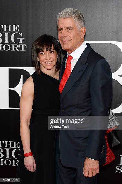 Ottavia Busia and Anthony Bourdain attend 'The Big Short' New York premiere at Ziegfeld Theater on November 23 2015 in New York City