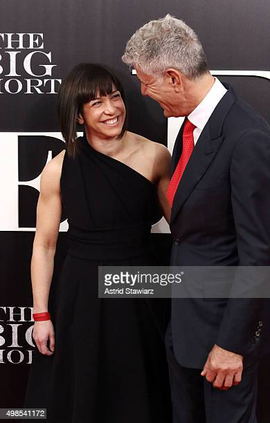Ottavia Busia and Anthony Bourdain attend 'The Big Short' New York screening Ziegfeld Theater on November 23 2015 in New York City