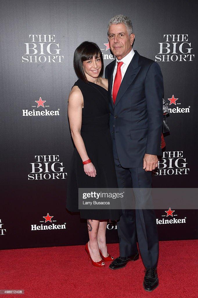 Ottavia Busia (L) and Anthony Bourdain attend 'The Big Short' Premiere at Ziegfeld Theatre on November 23, 2015 in New York City.