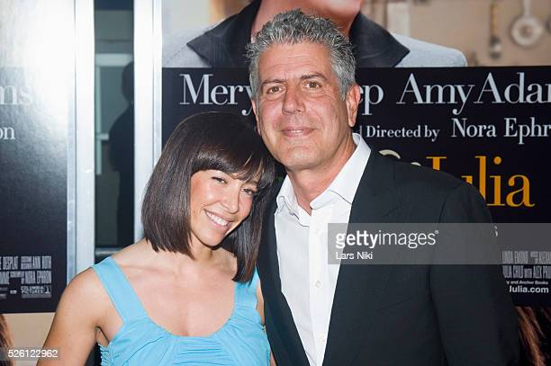 Ottavia Busia and Anthony Bourdain attend the 'Julie and Julia Film Premiere' at the Ziegfeld Theatre in New York City