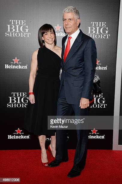 Ottavia Busia and Anthony Bourdain attend the premiere of 'The Big Short' at Ziegfeld Theatre on November 23 2015 in New York City