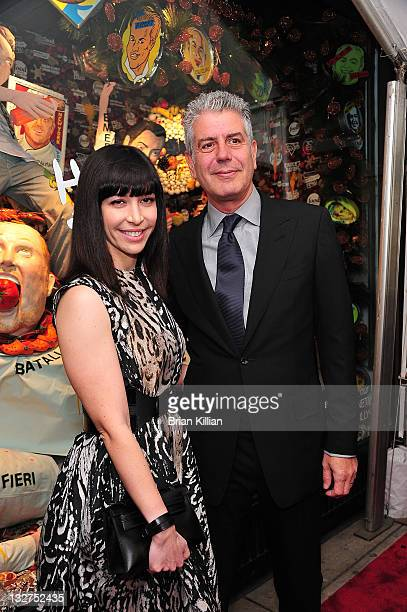 Ottavia Busia and Chef Anthony Bourdain attend 'Have A Foodie Holiday' in partnership with Food Network Cooking Channel and Illycafe at Barneys New...