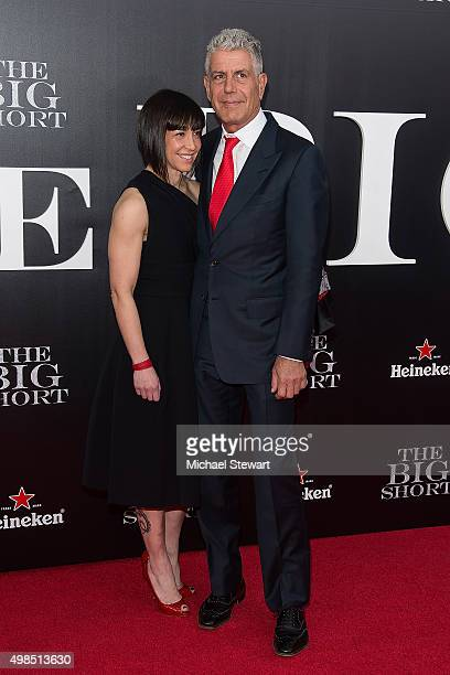 Ottavia Busia and chef Anthony Bourdain attend 'The Big Short' New York premiere at Ziegfeld Theater on November 23 2015 in New York City