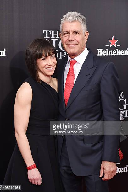 Ottavia Busia and chef Anthony Bourdain attend the premiere of 'The Big Short' at Ziegfeld Theatre on November 23 2015 in New York City