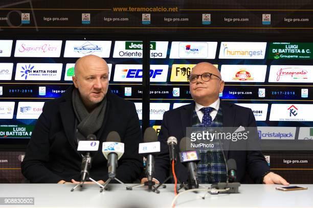 Ottavio Palladini new head coach of Teramo Calcio 1913 and Luciano Campitelli president of Teramo Calcio 1913 during the presentation of Ottavio...