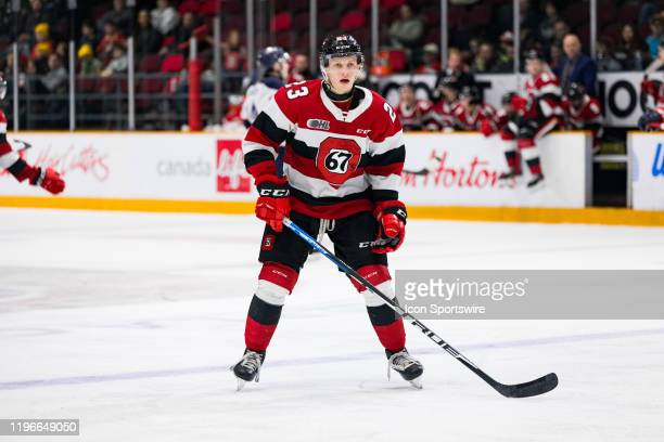 Ottawa 67's Center Marco Rossi applies pressure on the forecheck during Ontario Hockey League action between the Saginaw Spirit and Ottawa 67's on...