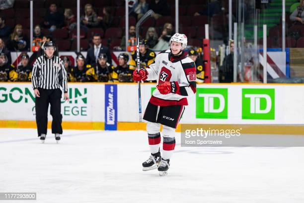 Ottawa 67's Center Marco Rossi celebrates a goal during Ontario Hockey League action between the Hamilton Bulldogs and Ottawa 67's on October 20 at...