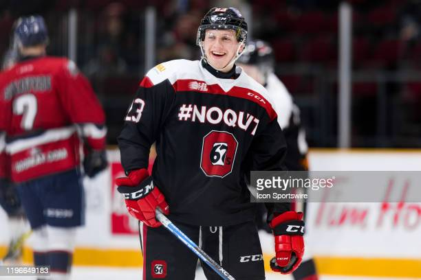 Ottawa 67's Center Marco Rossi during warm-up before Ontario Hockey League action between the Saginaw Spirit and Ottawa 67's on January 26 at TD...