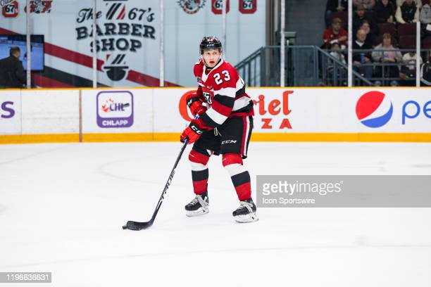 Ottawa 67's Center Marco Rossi skates with the puck during Ontario Hockey League action between the Saginaw Spirit and Ottawa 67's on January 26 at...
