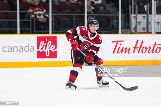 Ottawa 67's Center Marco Rossi skates with the puck during Ontario Hockey League action between the Sault Ste. Marie Greyhounds and Ottawa 67's on...