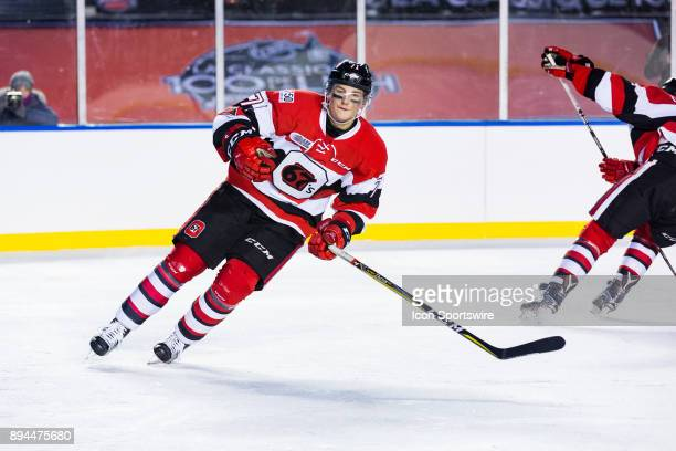 Ottawa 67's forward Kody Clark turns back up ice during Ontario Hockey League Outdoor Game action between the Gatineau Olympiques and Ottawa 67's on...