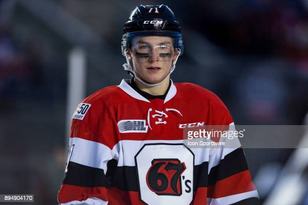 Ottawa 67's forward Kody Clark waits for play to resume during Ontario Hockey League Outdoor Game action between the Gatineau Olympiques and Ottawa...