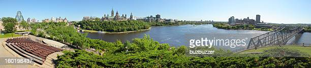 ottawa and gatineau cities summer panorama - ottawa stock pictures, royalty-free photos & images