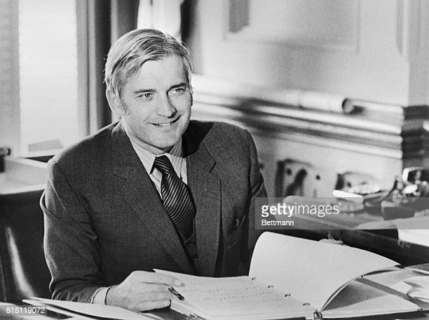 Finance Minister John Turner puts final touches to his budget speech he is to make in the House of Commons February 19 Personal tax cuts are expected...