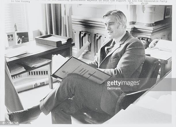Ottawa Ontario Canada Finance Minister John Turner in his office on Parliament Hill February 16 works on his budget which he is to present to the...