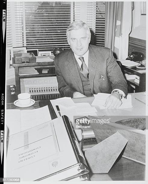Ottawa Ontario Canada Finance minister John Turner is shown at his desk November 15 in his Parliament Hill office He will bring down the Federal...