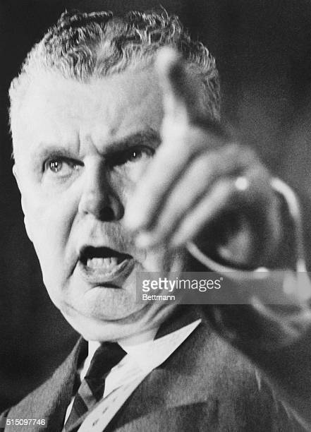 Ottawa, Ontario, Canada: Opposition Leader John Diefenbaker, fighting for his political life, makes a strong speech to the Annual Progressive...