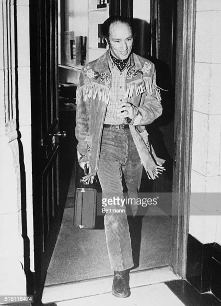 Prime Minister Pierre Trudeau sporting an Indian style rawhide jacket leaves Parliament Hill office October 31st The federal election October 30th...