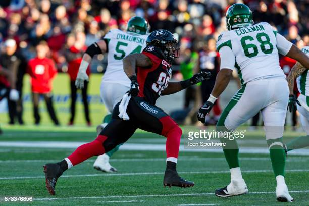 Ottawa RedBlacks defensive lineman Avery Ellis runs in looking to make a tackle during Canadian Football League Eastern SemiFinal playoff action...