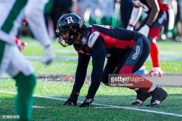 Ottawa RedBlacks defensive lineman Ettore Lattanzio lines up prior to the snap during Canadian Football League Eastern SemiFinal playoff action...