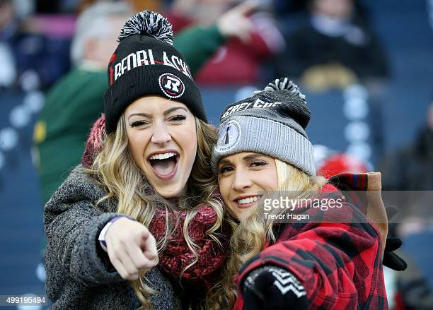 Ottawa Redblacks fans in the stands prior to Grey Cup 103 against the Edmonton Eskimos at Investors Group Field in Winnipeg Manitoba Canada