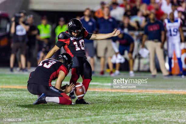 Ottawa Redblacks kicker Lewis Ward kicks a field goal during Canadian Football League action between the Montreal Alouettes and Ottawa Redblacks on...