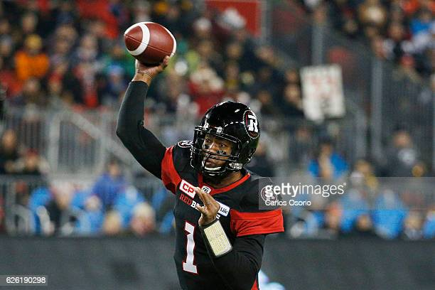 TORONTO ON NOVEMBER 27 Ottawa Redblacks quarter back Henry Burris during the first half of CFL action as the Calgary Stampeders play the Ottawa...