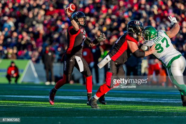 Ottawa RedBlacks quarterback Trevor Harris goes to throw a pass during Canadian Football League Eastern SemiFinal playoff action between Saskatchewan...
