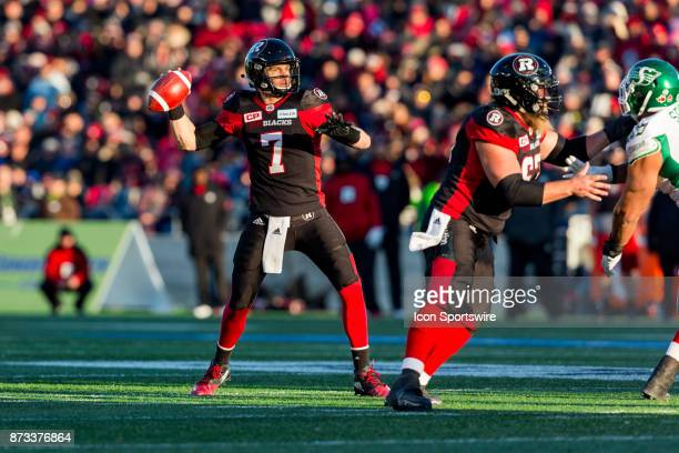 Ottawa RedBlacks quarterback Trevor Harris looks to make a pass during Canadian Football League Eastern SemiFinal playoff action between Saskatchewan...