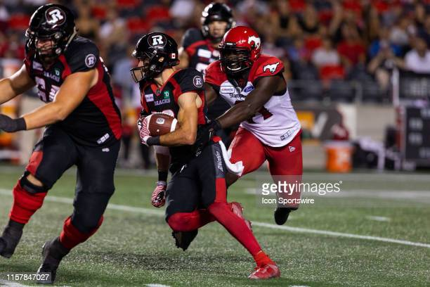 Ottawa RedBlacks wide receiver Brad Sinopoli runs with the football during Canadian Football League action between the Calgary Stampeders and Ottawa...