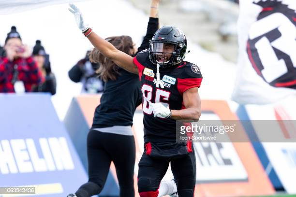 Ottawa Redblacks wide receiver Diontae Spencer celebrates a touchdown during Canadian Football League Eastern Final action between the Hamilton...