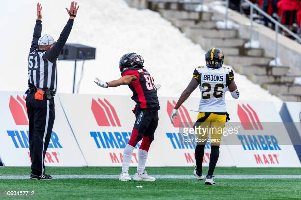 Ottawa Redblacks wide receiver Diontae Spencer celebrates his touchdown during Canadian Football League Eastern Final action between the Hamilton...