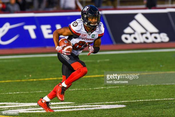 Ottawa Redblacks wide receiver Diontae Spencer returning the ball after kickoff during the Ottawa Redblacks versus the Montreal Alouettes game on...
