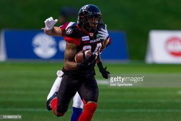 Ottawa Redblacks wide receiver RJ Harris attempts to break a tackle during Canadian Football League action between the Montreal Alouettes and Ottawa...