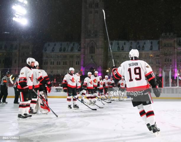 Ottawa Senators alumni Alexei Yashin salutes the crowd during the 2017 Scotiabank NHL100 Classic Ottawa Senators Alumni Game on Parliament Hill on...
