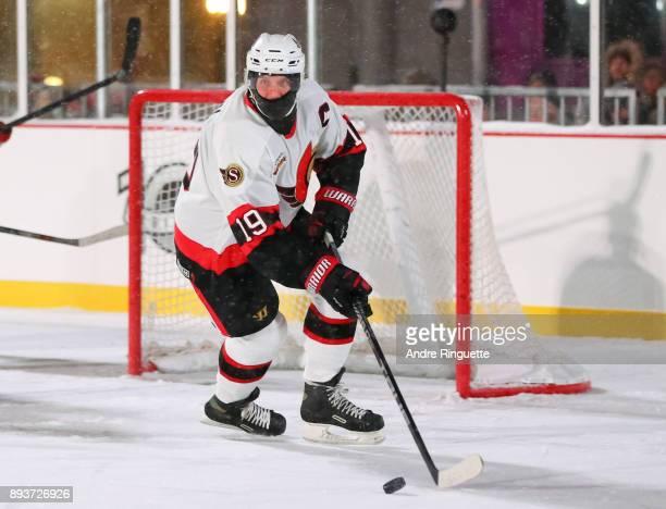 Ottawa Senators alumni Alexei Yashin turns to skate up ice during the 2017 Scotiabank NHL100 Classic Ottawa Senators Alumni Game on Parliament Hill...