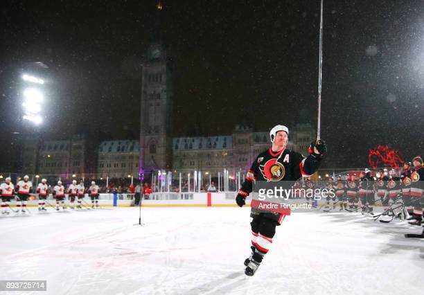Ottawa Senators alumni Chris Neil salutes the crowd during the 2017 Scotiabank NHL100 Classic Ottawa Senators Alumni Game on Parliament Hill on...
