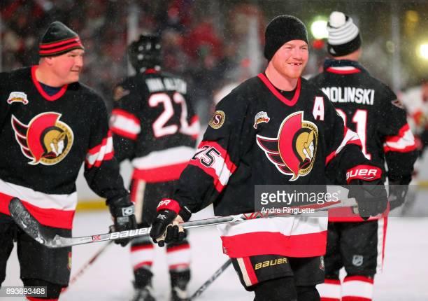 Ottawa Senators alumni Chris Neil warms up during the 2017 Scotiabank NHL100 Classic Ottawa Senators Alumni Game on Parliament Hill on December 15...