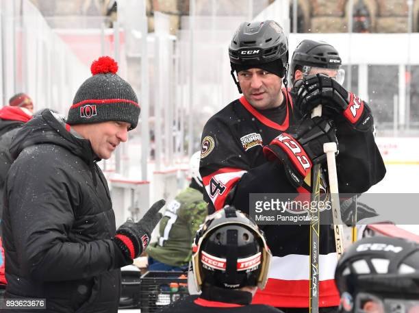 Ottawa Senators alumni Chris Phillips stands on the bench during the 2017 Scotiabank NHL100 Classic Ottawa Senators Alumni Skate on Parliament Hill...