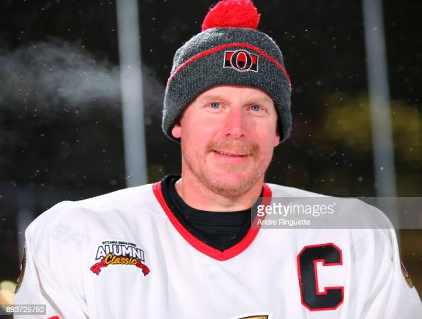 Ottawa Senators alumni Daniel Alfredsson poses for a photo during the 2017 Scotiabank NHL100 Classic Ottawa Senators Alumni Game on Parliament Hill...