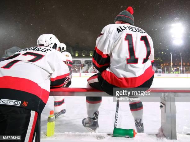 Ottawa Senators alumni Daniel Alfredsson sits on the bench between shifts during the 2017 Scotiabank NHL100 Classic Ottawa Senators Alumni Game on...