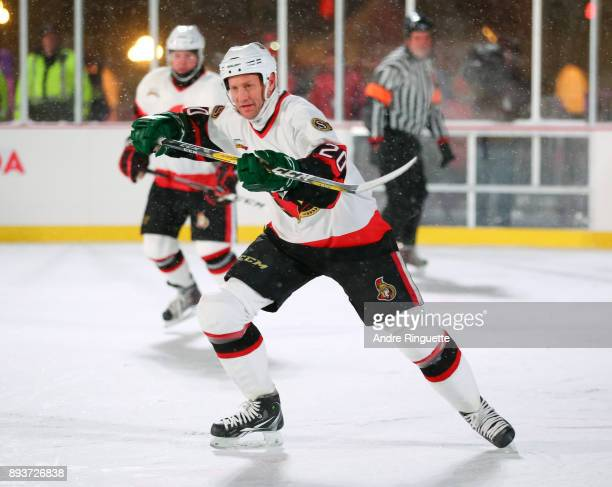 Ottawa Senators alumni Magnus Arvedson charges up ice during the 2017 Scotiabank NHL100 Classic Ottawa Senators Alumni Game on Parliament Hill on...