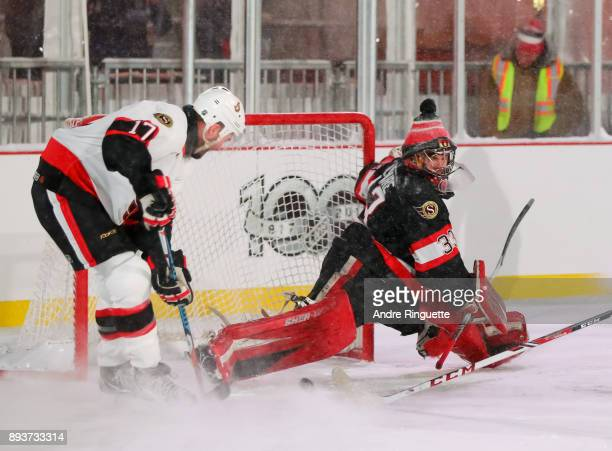 Ottawa Senators alumni Pascal Leclaire stretches for a pad save during the 2017 Scotiabank NHL100 Classic Ottawa Senators Alumni Game on Parliament...