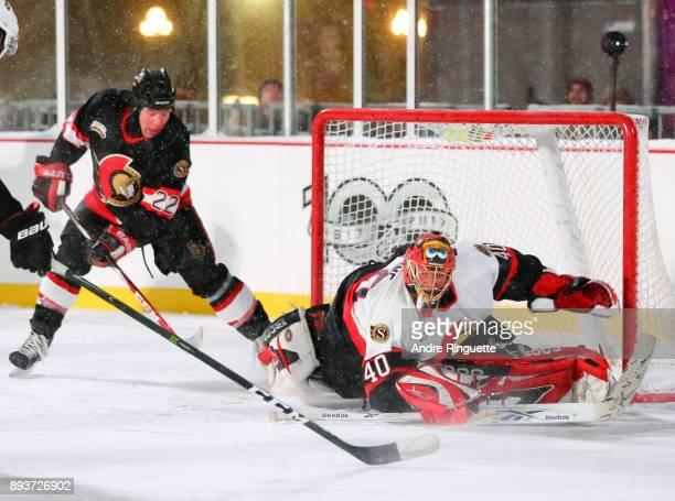Ottawa Senators alumni Patrick Lalime dives for a save during the 2017 Scotiabank NHL100 Classic Ottawa Senators Alumni Game on Parliament Hill on...