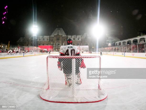 Ottawa Senators alumni Patrick Lalime follows the play from the net during the 2017 Scotiabank NHL100 Classic Ottawa Senators Alumni Game on...