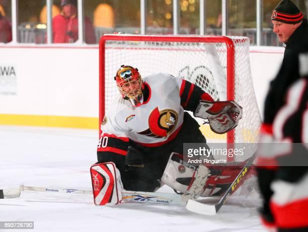 Ottawa Senators alumni Patrick Lalime reaches for a stick save during the 2017 Scotiabank NHL100 Classic Ottawa Senators Alumni Game on Parliament...
