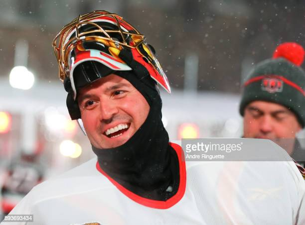 Ottawa Senators alumni Patrick Lalime warms up before the 2017 Scotiabank NHL100 Classic Ottawa Senators Alumni Game on Parliament Hill on December...