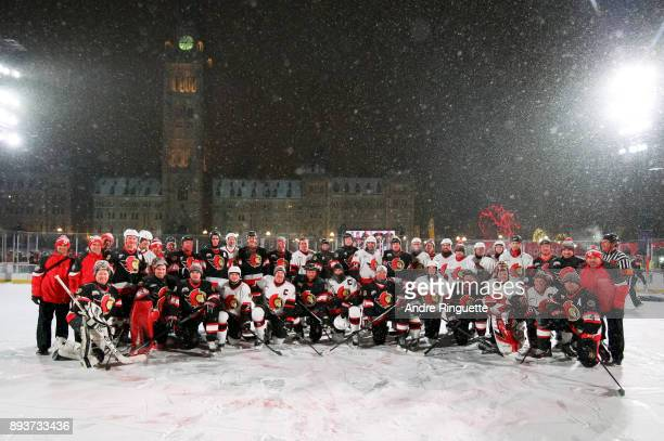 Ottawa Senators alumni pose for a photo during the 2017 Scotiabank NHL100 Classic Ottawa Senators Alumni Game on Parliament Hill on December 15 2017...