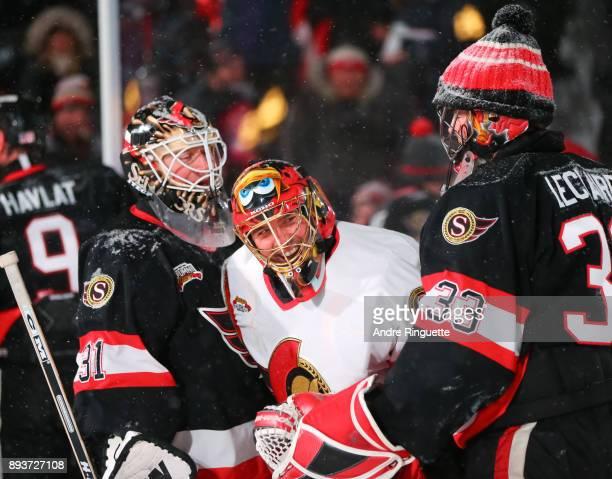 Ottawa Senators alumni Ron Tugnutt jokes around with Patrick Lalime and Pascal Leclaire during the 2017 Scotiabank NHL100 Classic Ottawa Senators...