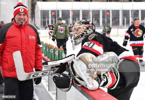 Ottawa Senators alumni Ron Tugnutt stretches during the 2017 Scotiabank NHL100 Classic Ottawa Senators Alumni Skate on Parliament Hill on December 15...